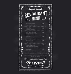 Menu restaurant blackboard vintage hand drawn vector