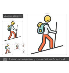 Mountain hiking line icon vector