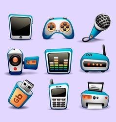 Multimedia icons blue color-part 2 vector