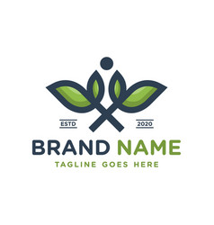 natural health leaf logo vector image