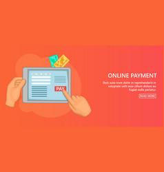 Online payment banner horizontal cartoon style vector