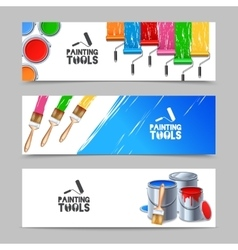 Painting Tools Banners Set vector image