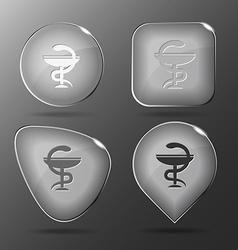 Pharma symbol glass buttons vector