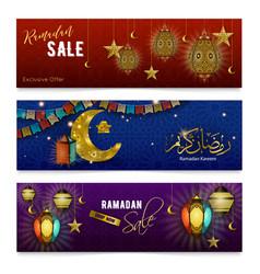 Ramadan kareem realistic banners vector