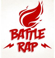 Rap battle logo or emblem with flames fire vector