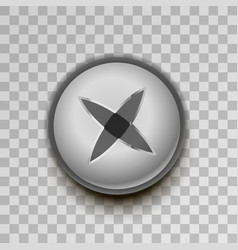 realistic metal cross screw on transparent vector image