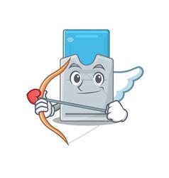 Romantic key card cupid cartoon character vector