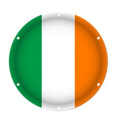 Round metallic flag of ireland with screw holes vector