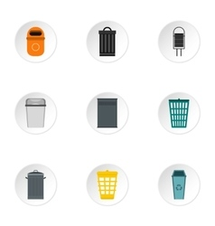 Rubbish bin icons set flat style vector