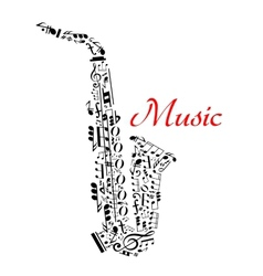 Saxophone with musical notes vector image