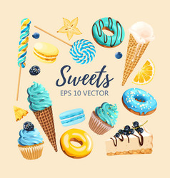 Set of delicious fruit sweets and desserts vector