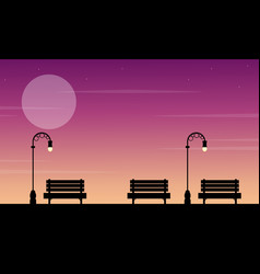 Silhouette of chair on street at sunset landscape vector