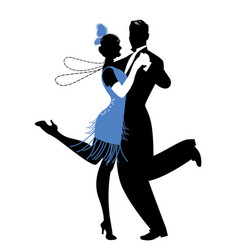 Silhouettes couple wearing clothes in the vector