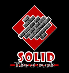 Solid like a rock abstract red style flat logo vector