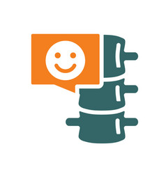 spine with happy face in chat bubble colored icon vector image