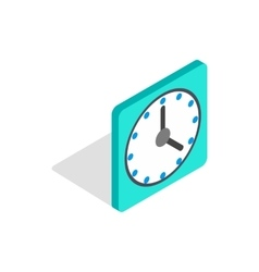 Square wall clock icon isometric 3d style vector