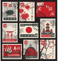 stamps on the theme of Japan vector image