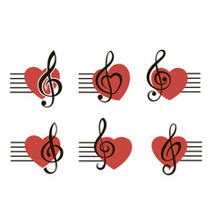 Treble clef set with heart vector