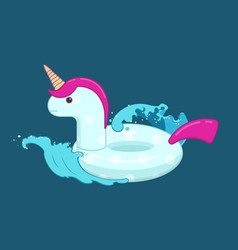 Unicorn inflatable pool float on the waves vector