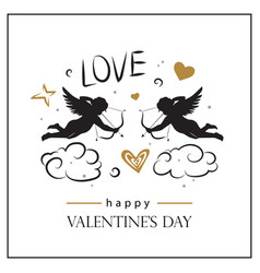 valentines day card with cupids vector image