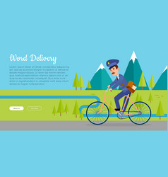 world delivery web banner with postman vector image