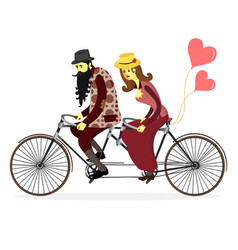 young man and woman with riding tandem bicycle vector image