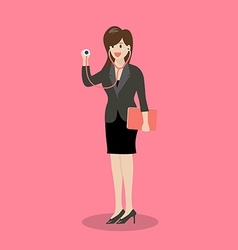 Business woman holding stethoscope vector image