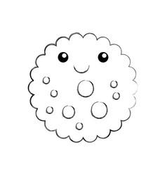 cartoon funny cookie chocolate chip kawaii vector image
