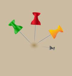 collection of various red push pins thumbtacks vector image