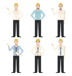 Set of engineer men vector image vector image