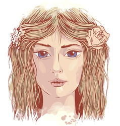 Young beautiful face vector image