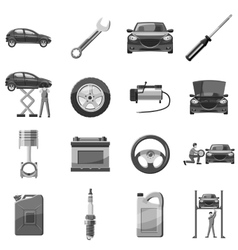 Car service repair icons set gray monochrome style vector image vector image