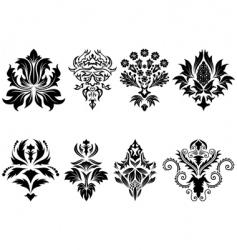damask emblem set vector image vector image