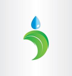 drop of water on leaf freshness eco symbol vector image