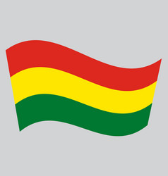flag of bolivia waving on gray background vector image vector image