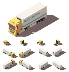 isometric truck with insulated or vector image vector image