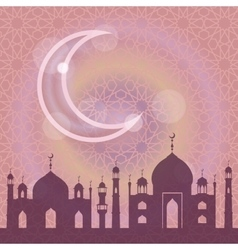 Islammusulma pattern backgroundMosquemoonLilac vector image