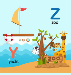 isolated alphabet letter y-yacht z-zoo vector image