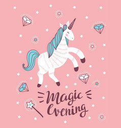 poster with unicorn magic wand and crystal on the vector image vector image