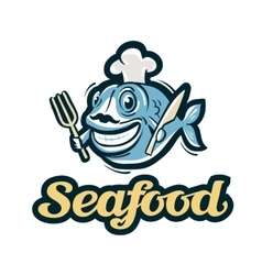 Seafood logo fish fishing or restaurant vector
