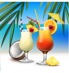 tropical cocktails tequila sunrise and pina colada vector image vector image