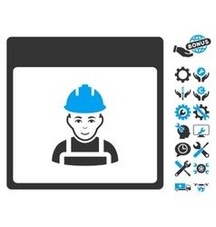 Worker Calendar Page Icon With Bonus vector image vector image