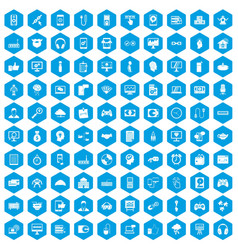 100 programmer icons set blue vector image