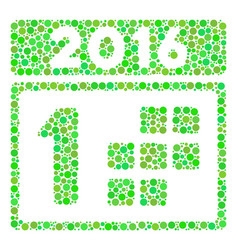 2016 first calendar day collage icon of circles vector