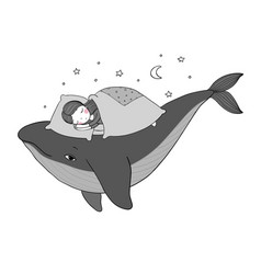 A little girl is sleeping on a whale cozy bed vector