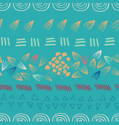abstract aztec teal seamless print design vector image