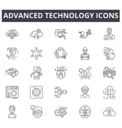 advanced technology line icons editable stroke vector image