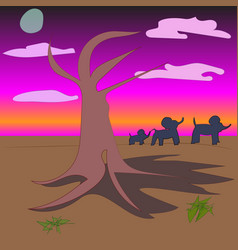 African evening landscape with baobab and elephant vector