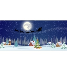 background with christmas tree and night village vector image