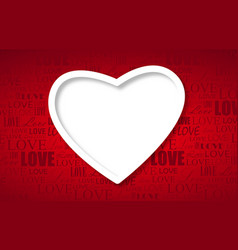 Beautiful white heart on red paper - love concept vector